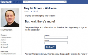 Facebook email opt-in form